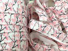 Cherry Blossom Fold Over Elastic 5/8 FOE Hair Ties DIY Craft Supplies USA SELLER