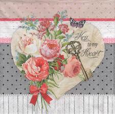 4 lose Servietten Napkins Blumen Schmetterling Herz Schlüssel  Vintage