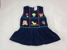 Baby Girls Vintage Navy Blue Corduroy Jumper Dress Holiday Applique 12 Months