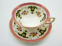 Royal Grafton Fine Bone China pink black gold  Cup / Saucer England unique mask