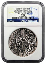 2014 P TUVALU GODS OF OLYMPUS POSEIDON HIGH RELIEF 2 Oz Silver $2 COIN NGC PF 70
