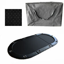 """Black 84"""" 10 Player Tri-Fold Folding Poker Table Top Speed Cloth & Carrying Case"""