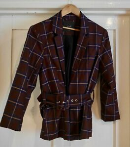 Y.A.S. Belted Blazer & Trousers Suit Size Medium Burgundy-brown w Navy & Yellow