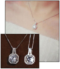 925 Sterling Silver Cubic Zirconia Crystal Square Halo Pendant Necklace, Chain