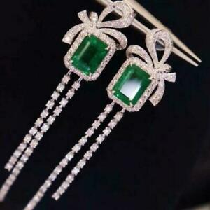 Bow Knot Engagement & Wedding Drop Dangle Earrings 14K White Gold 4.2 Ct Emerald