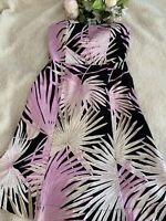 Gap Stretch Black and Lavender Print Strapless Dress Size 6 Small