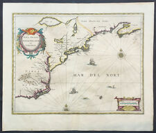 1639 Jansson Antique Map of Colonial America,Virginia to New England Chesapeake