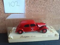 Solido 1/43 Scale Metal Model - CITROEN POMPIERS 15 4033 RED/ CITROEN 15