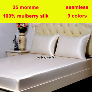 25 Momme 100% Silk Extra Deep Fitted / Bottom Sheets Pillow Cases Set Seamless