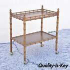Vintage Faux Bamboo Chinese Chippendale Hollywood Regency Wood Bar Cart Server