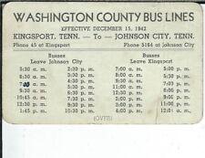 BB-134 Kingsport, Johnson City, TN Washington County Bus Lines Schedule Card