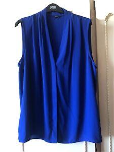 M & Co Cobalt Blue Ladies Sleeveless Top Size 16