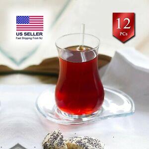 Turkish Tea Glasses with Saucers 12 Pcs, Traditional Teacups Set of 6, 5.75 oz