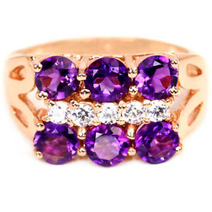 NATURAL AAA PURPLE AMETHYST ROUND & WHITE CZ STERLING 925 SILVER RING SIZE 6.5