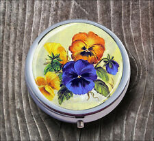 FLOWERS PANSIES BUNCH PILL BOX ROUND METAL -h5y6m