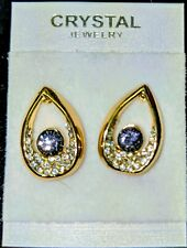 Earrings Stud 9K Yellow Gold Filled CZ Crystal Green Stone