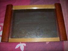 Ancien plateau  art déco en bois et miroir, Années 50