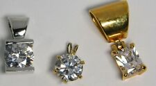 3 CZ Cubic Zirconia Pendants Gold & Silver Plated