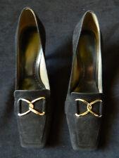 BCBG Girls Black Suede High Heels Jasmin-S Square Toe Buckle Detail Size 6B /36