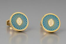 metal Men's jewelry Logo cuff links Cartier Cufflinks Gold Blue Turquoise Brass