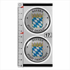 Bayern INGOLSTADT set of 2 German Number Plate Seal Stadt 3D Domed Sticker badge