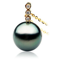 New 11mm Black Tahitian Diamond Gold Pearl Pendant Pacific Pearls® Wedding Gifts