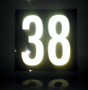 White Reflective on Black House Number Signs  / 200mm x 200mm
