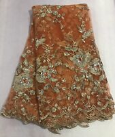"""Orange Gold Embroidery Rhinestone Beads Lace Fabric 50"""" Width Sold By The Yard"""