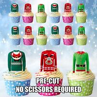 PRECUT Christmas Jumpers Edible Cupcake Toppers Cake Decorations Pack of 12