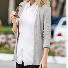 Cabi Shirttail Cardigan Sweater Gray Cotton Acrylic Button Down Medium #3161