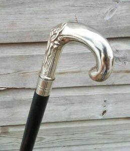 Solid Silver eva Adam Head Vintage BLACK Wooden Walking Stick Cane handmade Gift