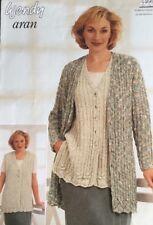 "Wendy Knitting Pattern Ladies Cardigan Waistcoat Aran Size 32/40"""