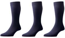Pantherella Laburnum 3 Pack Ribbed Merino Blend Socks UK 6-7 Small Navy Blue