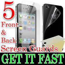 5 X FRONT & BACK CLEAR LCD SCREEN PROTECTOR COVER FILM FOR APPLE iPHONE 4 4S