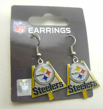 Pittsburgh Steelers Logo with Goal Post Charm Earrings - NFL Licensed Jewelry