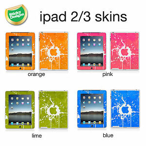 iPad 2 or 3 - Apple Paint Splash Style Vinyl Skin Sticker Cover