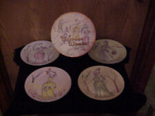 SET OF 4 PORCELAIN DESSERT PLATES VICTORIAN WOMEN BOXED