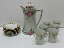 Vintage Porcelain CHOCOLATE POT Flower Floral Gold Teacup Saucer Teapot Limoges