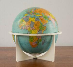 "Vtg 1970s Replogle 6"" Metal World Globe Space Age Apollo Cram Rand McNally Era"