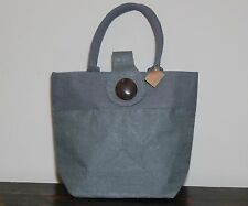 WOMAN'S JUTE HANDBAG BUTTON GRAY SUMMER BEACH ROYAL STANDARD TOTE MEDIUM
