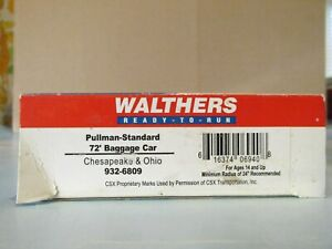 WALTHERS CHESAPEAKE and OHIO C&O PULLMAN STANDARD 72' BAGGAGE CAR HO Scale
