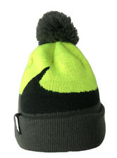 Nike Gray & Fluorescent Yellow Pom Big Logo Winter Knit Cap Hat Youth Large Euc