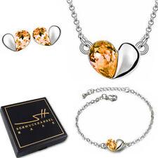 Halskette Ohrstecker Armband *Halb Herz*, Silber, +Etui, Schmuckhandel Haak®