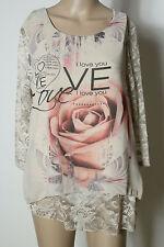 Bluse Gr. 38 beige/creme Chiffon Rosen Motiv 3/4-Arm-Bluse/Shirt mit Spitze NEU