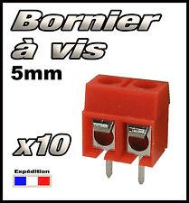 965R/10# Bornier à vis rouge  2 plots 10 pcs borniers CI -- pas 5 mm