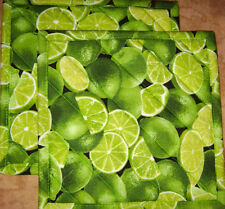 "Timeless Treasures ""Limes"" Set of 2 (8"") Handmade-Quilted-Insulated-Hot Pads"