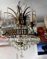 Fine Antique Art Deco Gold Gilt Six Lights Crystal Chandelier, Persian Style