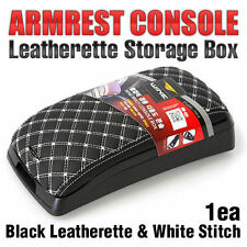 Arm Rest Center Console Storage Box Black Leatherette White Stitch for BMW