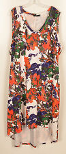 JETE Maxi Dress Size 3X Sleeveless V Neck HI/LO Red Purple Green White Floral