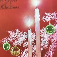 Vintage Mid Century Christmas Greeting Card Pink Red Candles Tree Ornament Bulbs